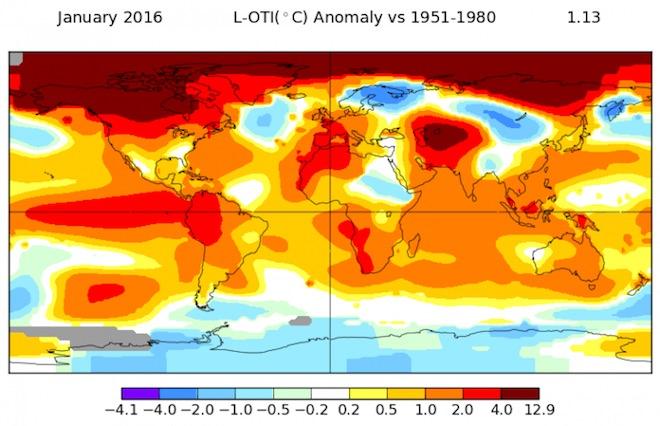 Січень 2016 року став найтеплішим за 135 років