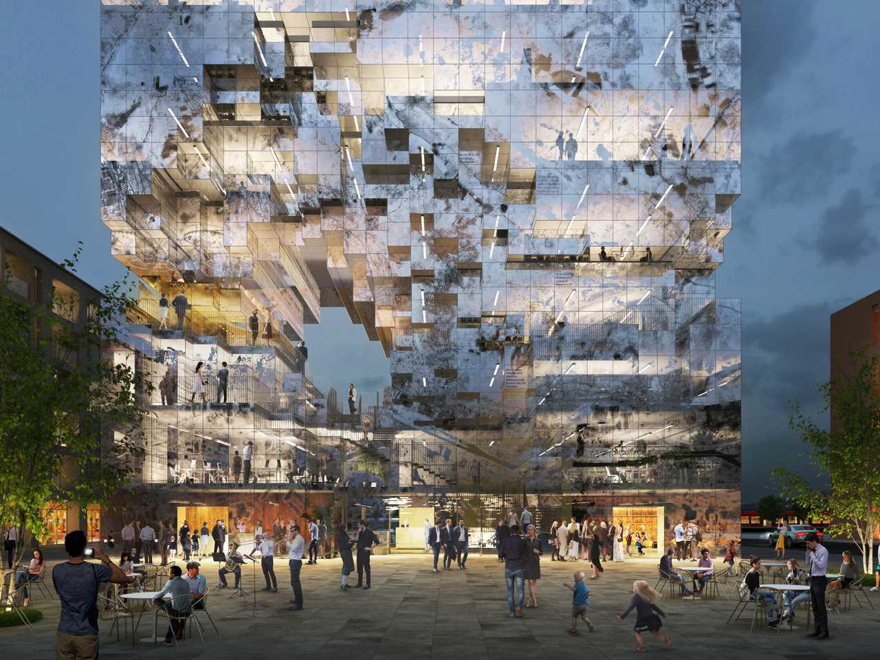 Photo of Представлений концепт будівлі, фасад якого покритий QR-кодами