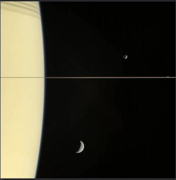 Photo of Кільця Сатурна і три його супутника на одній фотографії