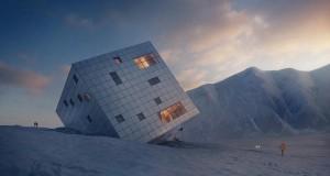 Оригінальний концепт футуристичного готелю, «закинутого» на гірські вершини
