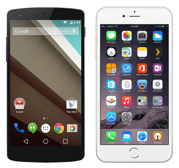 Android-L-vs-iOS-8-1