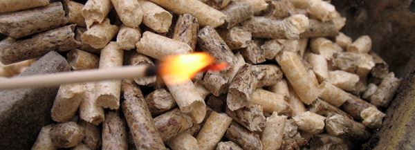 wood pellets and fire